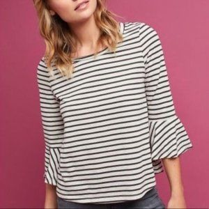 Anthro Deletta Striped Bell Sleeve Top